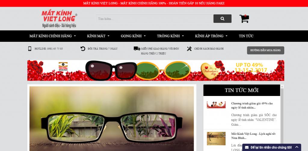 Thiết kế web shop mắt kính