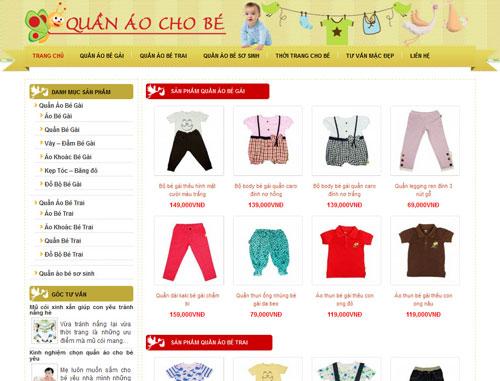 Thiết kế website bán quần áo trẻ em